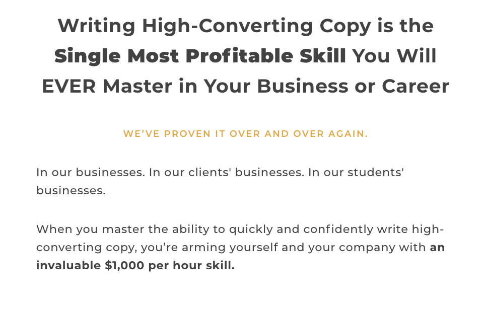 Copy school direct response copywriter